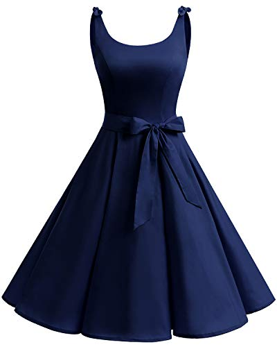 Bbonlinedress 1950er Vintage Polka Dots Pinup Retro Rockabilly Kleid Cocktailkleider Navy XL