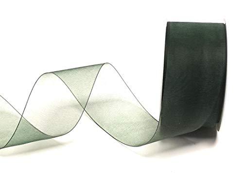 1m//0,12€ Schleifenband 25m x 25mm dunkelgrün ORGANZA Chiffon Webkante DEKOBAND