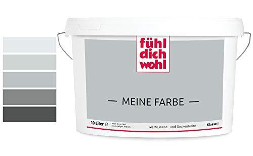 Fühl Dich Wohl Meine Farbe grau, matte Wandfarbe grau, hohe Deckkraft, verschiedene Grautöne zur Auswahl (5L, Elefantengrau 14-17)