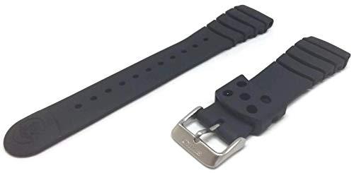 Cinturino dell'orologio Seiko autentico cinturino in caucciù nero con fibbia in acciaio inossidabile da 20 mm
