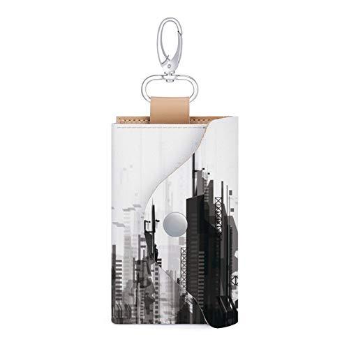 Leder-Schlüsselgehäuse, Turm, Block, Metropolregion, Stadtbild, Nachbarschaft, Gewerbegebäude, 4.53 x 2.75 Zoll