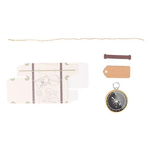 EVTSCAN Scatola regalo di nozze da 20 pezzi Scatole di caramelle con bussola e etichette Kraft per decorazioni bomboniere da viaggio(Gold)