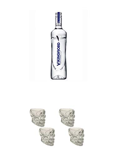 Vikingfjord Vodka aus Kartoffeln 0,7 Liter + Wodka Totenkopf Shotglas 2 Stück + Wodka Totenkopf Shotglas 2 Stück