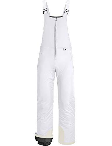 GEMYSE Women's Insulated Waterproof Ski Bib Overalls Winter Snowboarding Pants (White,Medium)