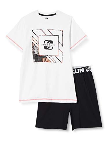 Freegun EG.FGSUM2.PSH1.MZ Juego de Pijama, Blanco/Negro, 10 años para Niñas