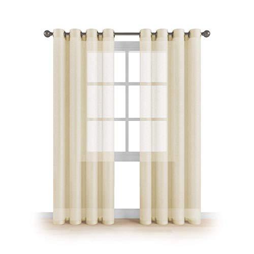 Kingnet Cortina de visillos semitransparentes Lisos con 8 Ojales, Juego de 2 Piezas visillos de 145x260cm, Efecto para Ventana hogar salón Dormitorio habitación (P-0577, 145X260CM)