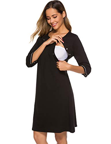 FINWANLO Women's Maternity Nursing Nightgown Labor Delivery Hospital Gown 3/4 Sleeve Breastfeeding...
