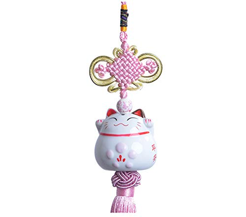 Maneki Neko - feng shui pendiente afortunado japonés del gato de calicó de China (rosa)