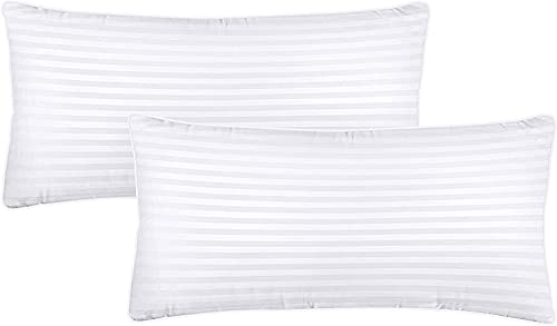 Utopia Bedding Kopfkissen (2er Set) - 40 x 80 cm Schlafkissen mit Reißverschluss - 900g Anpassbare Hohlfaser Füllung mit Baumwoll-Mischgewebe - Weich et Atmungsaktiv Kissen (Weiß)