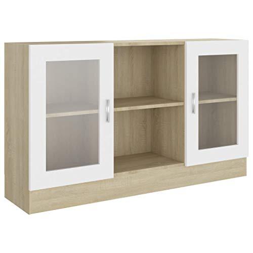 Ausla Schrank, Vitrine für Wohnzimmer Schlafzimmer Küche, Medizinschrank mit 2 Fächern und 2 Türen, 120 x 30,5 x 70 cm