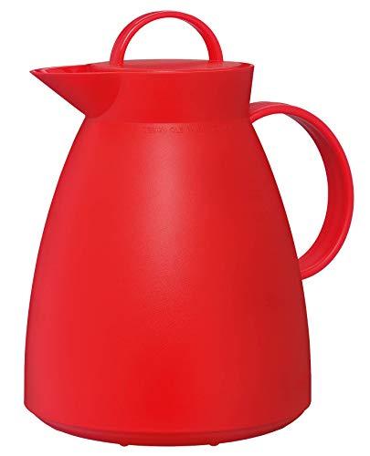 alfi Isolierkanne Dan, Teekanne Kunststoff gefrostet Rot 1,0l, Thermoskanne mit Glaseinsatz, 0935.979.100, 12 Stunden heiß, 24 Stunden kalt, große Öffnung für Teebeutel und Teefilter, BPA-Frei