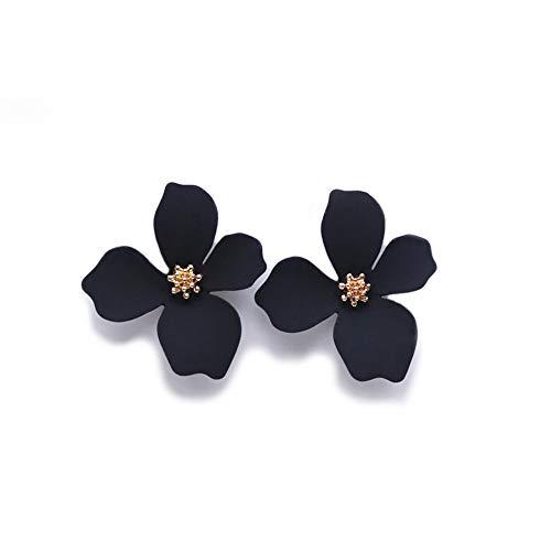 EXINOX Pendientes de Flores | Mujer | Elegantes Pendientes Primavera Verano (Negro)