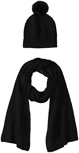 Amazon Essentials Women's Pom Knit Hat and Scarf Set, Black, One Size