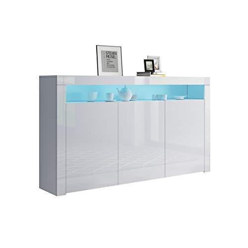 UNDRANDED Sideboard Kommode 3 Türen Hochglanz Front mit LED Beleuchtung Wohnzimmer 152x97x35cm (Weiß)