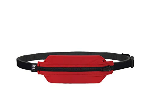 SPIbelt Kids No-Bounce Belt with Hole for Insulin Pump, Medical Devices or Headphones for Active Kids! (Red with Black Zipper)