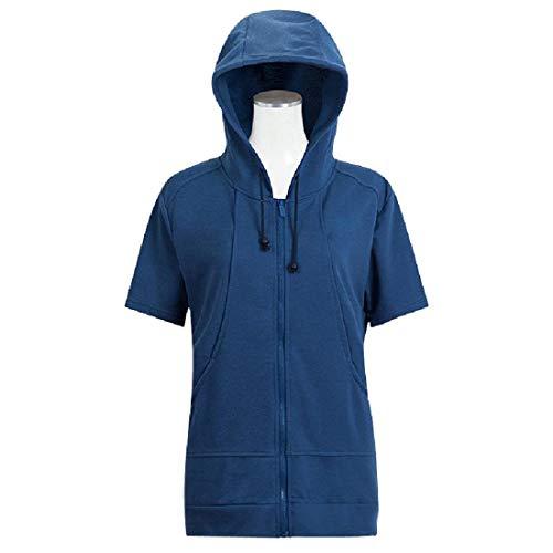 Cosplay-T-shirt met korte mouwen met capuchon, ritssluiting, licht elastisch, kan door mannen en vrouwen worden gedragen.