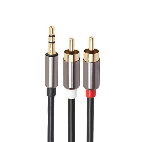 DishyKooker 3,5 mm Klinkenstecker (TRS 1/8 Zoll) auf 2 männliche Cinch-Stereo-Analogkabel-Audioadapter schwarz