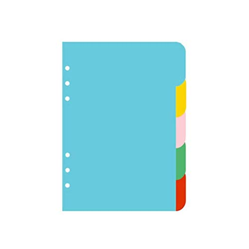 Iwinna Tab Dividers, A5 Index Classified Lables, 6-Holes Colorful Filler Project Sorter Pages for Ring Binders Planner Notebook, 5 Colours (A5)