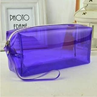 1Pc Candy Color Transparent Plastic Box School Lovely Pencil Case Pen Bag Pouch Painting Brush Pens Storage Case Gift Stationery Large Capacity Creative Pencil case (Color : Purple)