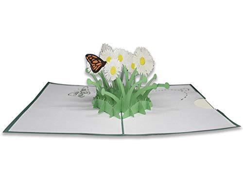 Glückwunschkarte Origami Surprise, Schmetterlinge und Gänseblümchen