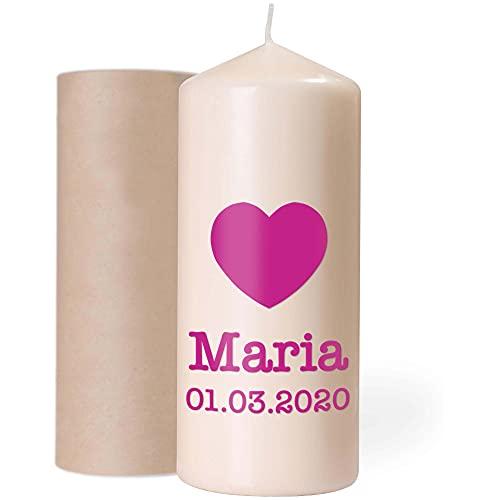 Kerze Geburtstag für Kinder und Erwachsene mit Namen und Motiv personalisiert 18,5 x 7,8 cm groß Geburtstagskerze mit Geschenkbox