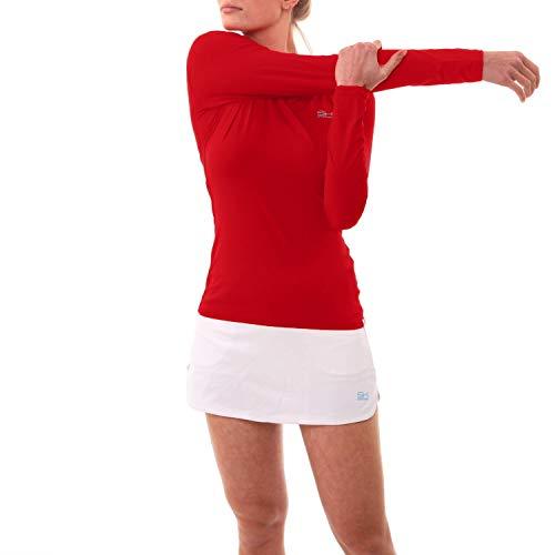 Sportkind T-shirt de tennis respirant à manches longues pour femme et fille Protection UV UPF 50+ - Rouge - L