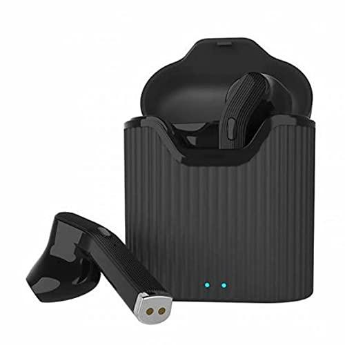 QiKun-Home H19T Compartimiento de Carga binaural Auriculares inalámbricos 5.0 Auriculares estéreo Bajos Auriculares inalámbricos para Apple Negro