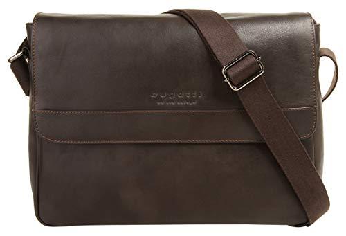 """Bugatti Corso Messenger Bag für Damen und Herren mit 13"""" Laptopfach, Unisex Umhängetasche Kuriertasche Schultertasche, Braun"""