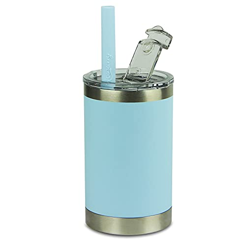 Housavvy Toddler Cups Easy Cleaning BPA Free Vacuum Insulated Stainless Steel Cup with Leak Proof Tritan Lid and Kids Smoothie Silicone Straw, Dishwasher Safe, 11 Oz, Blue