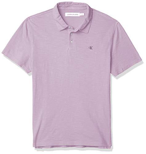 Calvin Klein - Polo de Manga Corta para Hombre con Monograma de algodón, Púrpura (Purple Sage), X-Large