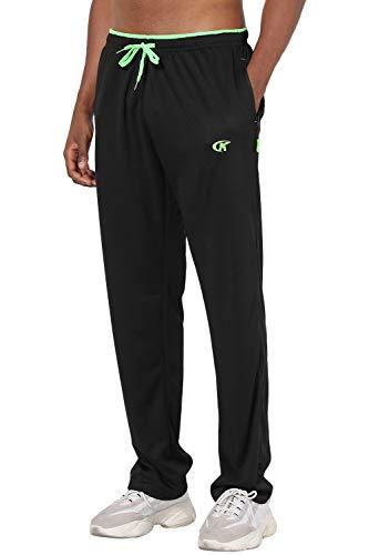 NEIKU Men's Sweatpants with Zipper Pockets Athletic Pants for Men Running, Exercise, Workout Black Large