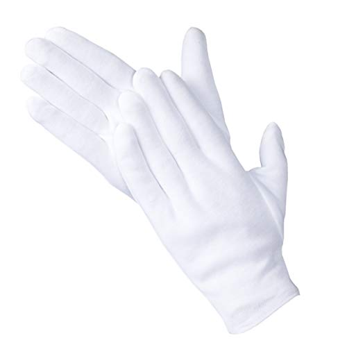 Charmics Cotton Gloves 5 Pairs White Cloth Gloves for Men and Women Dry Hands, Cleaning Coins, Jewelry, Costume, Moisturizing