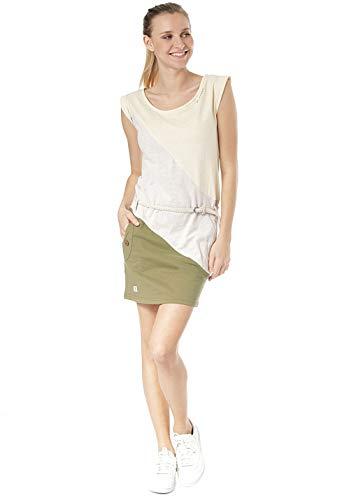 Ragwear Tag Block Organic Damen,Kleid,Sommerkleid,kurz,ärmellos,vegan,Rundhalsausschnitt,Taillengürtel,Taschen,Yellow,L