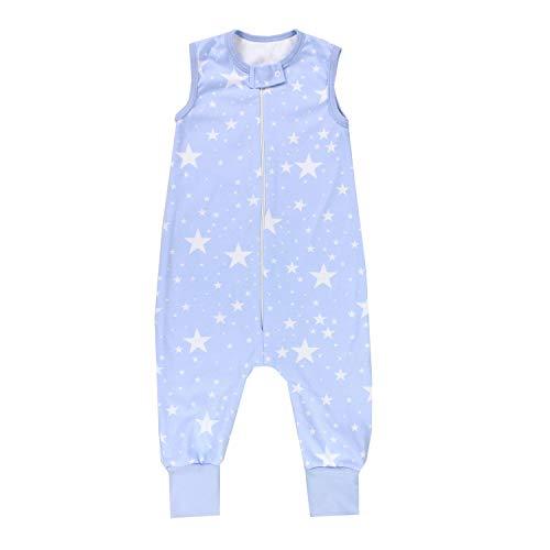 TupTam Unisex Babyschlafsack mit Beinen Unwattiert, Farbe: Weiße Sterne/Blau, Größe: 104-110