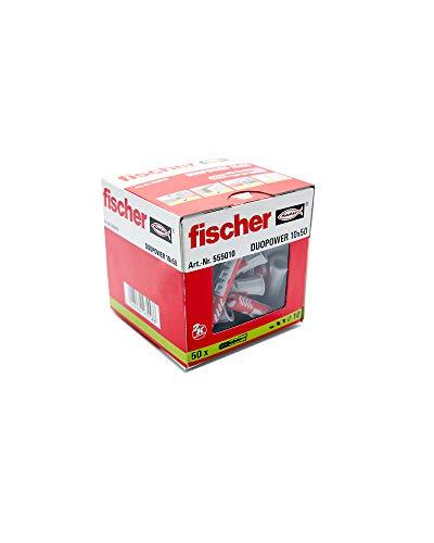 Fischer 55010 Taco Duopower 10X50 / (Caja de 50 Uds), 555010, Gris y Rojo, 0, Set Piezas