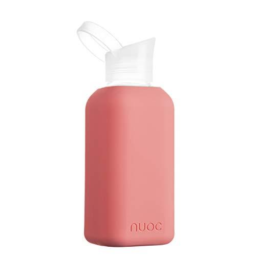 NUOC Botella Agua Cristal | 500 ml. | Botella de Agua Reutilizable | Botella de Cristal con Funda de Silicona. Bebidas frías y Calientes, sin BPA, ecológica y Ligera. Deporte, Oficina, Yoga, G