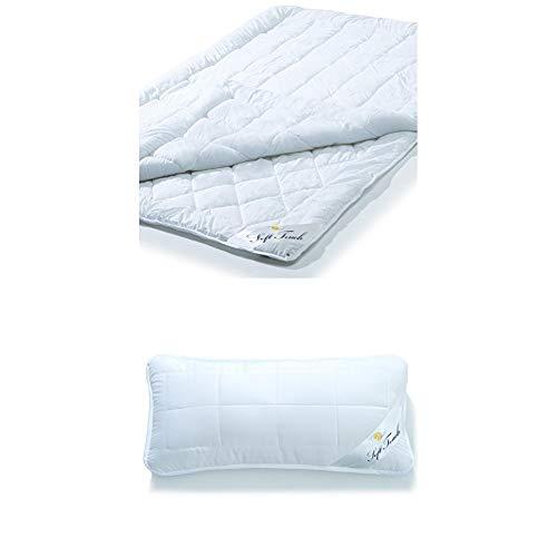 Aqua-textil Soft Touch 4 Jahreszeiten Bettdecke, 135 x 200 cm + Kopfkissen 40x80 mit Reißverschluss zum Anpassen der Füllung, waschbar bis 95 Grad, atmungsaktiv, aqua-textil Soft Touch 1000747
