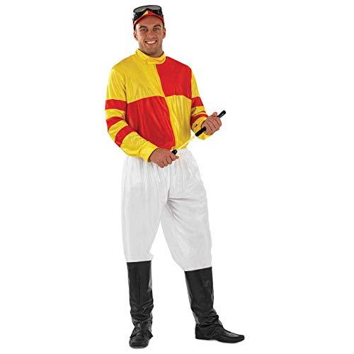 Fun Shack Rot & Gelb Jockey Reitsport Kostüm für Herren - S