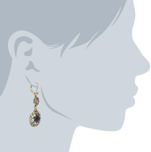 Betsey Johnson Carved Flower Medallion & Crystal Gem Drop Earrings