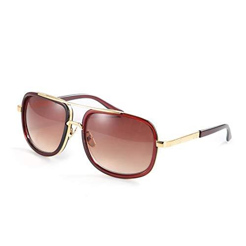 Gafas de sol con lentes transparentes, montura redonda, resistentes al desgaste, gafas de sol punk, para oficina, para la familia(Tea frame)