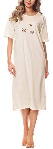 Merry Style Damen Kurzarm Nachthemd 91LW1 (Ecru (Kurzarm), 46 (Herstellergröße: XXXL))