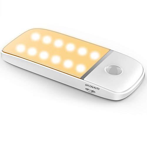 Luz Nocturna LED sensor de movimiento/Luz de armario/Luz fría y luz cálida. 12 luces LED para la noche, armario empotrado, armario, cocina, escaleras y balcón con tira magnética extraíble (1 Pack)