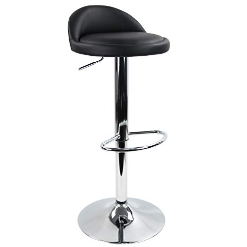 KKTONER PU Leather Round Bar Stool with Back Rest Height Adjustable Swivel Pub Chair Home Kitchen Bar stools Backless Stool with Footrest (Black)