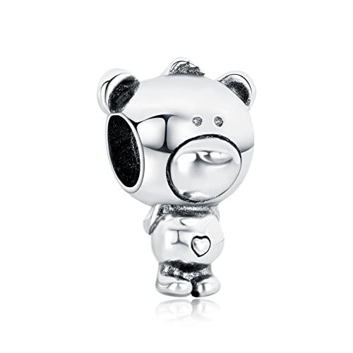 LaMenars Orso Charms Fit Pandora Charms Silver Love Auntie Mom Nonna Pendente Perline per bracciali e collane per San Valentino Festa della Mamma Regalo di Compleanno