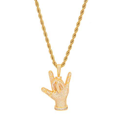 Modow Rapper Hip Hop Heren-halsketting met hanger van koper, met 24 kettingen, 14-karaats verguld & AAA zirkonia, goud