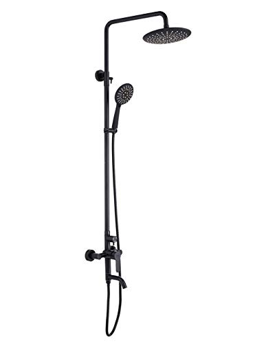 PHASAT outdoor shower fixtures,Lead-Free SUS 304 Stainless Steel Bathroom Faucet Set,Wall mounted exposed shower system,3-Function,Matte Black,CT8323