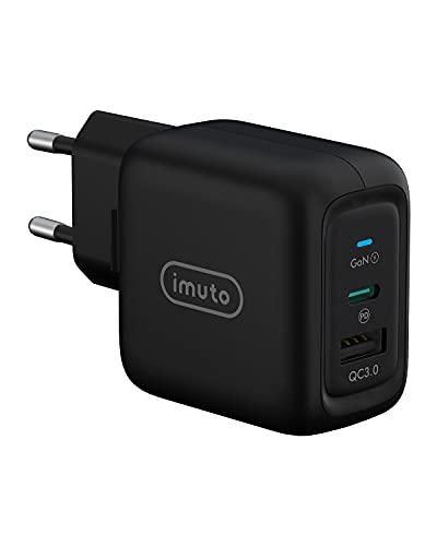 imuto Cargador USB C 65W, GAN Tech USB C Doble Cargador Tipo C PD 3.0 Rápido Soporta QC 3.0 para iPad Pro 2021, iPhone 12/XS/MAX/X/ 8, Samsung, Huawei, MacBook, Galaxy, Laptop, Tablet