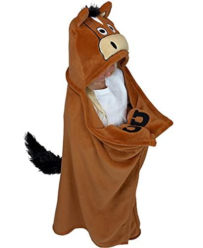 Lazy One Animal Blanket Hoodie for Kids, Hooded Blanket, Wearable Kids  Blanket, Soft, Cozy Fleece Hoodie (Horse, Brown Blanket)