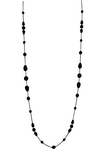 LaRaso & Co Long Necklace for Women Handcrafted Black Czech Glass Crystal Bead Station Necklace Gifts for Wife