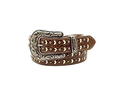 M&F Western Nocona Faux Croc Belt w/Contrast Lacing & Nailheads Brown/Ivory XL